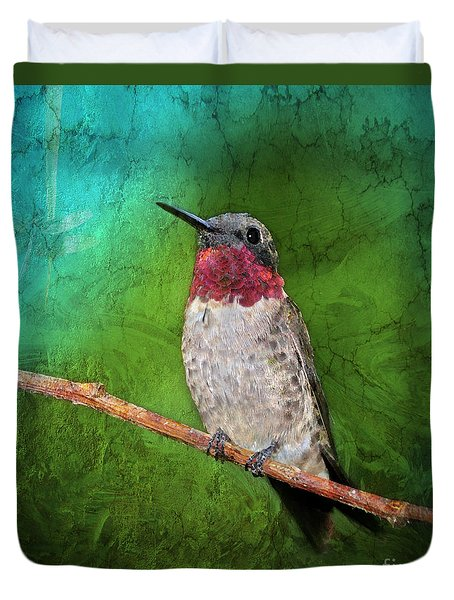 Ruby Throated Hummingbird Duvet Cover by Betty LaRue