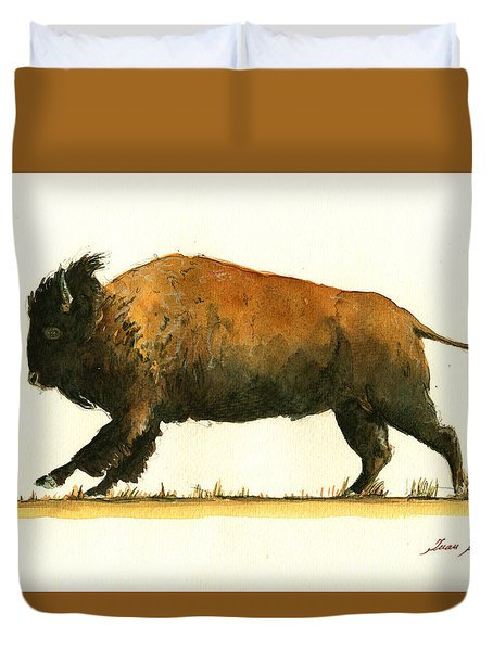 Running American Buffalo Duvet Cover by Juan  Bosco
