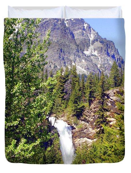 Running Eagle Falls Glacier National Park Duvet Cover by Marty Koch