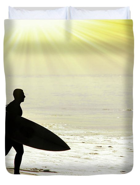 rushing surfer Duvet Cover by Carlos Caetano