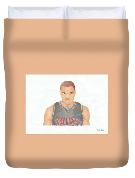 Russell Westbrook  Duvet Cover by Toni Jaso