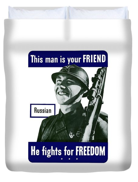 Russian This Man Is Your Friend Duvet Cover by War Is Hell Store