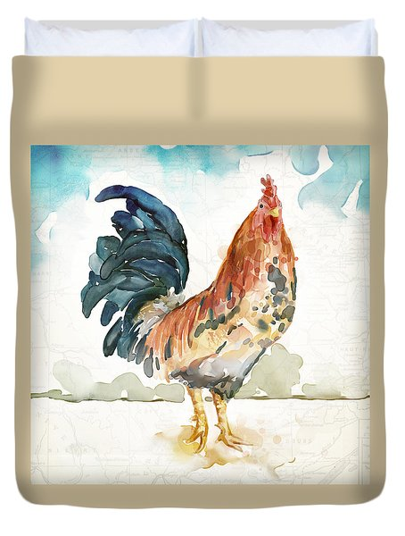 Rust Rooster Duvet Cover by Mauro DeVereaux