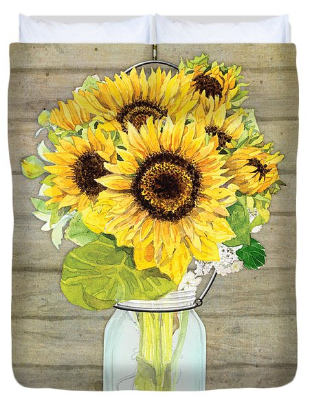 Rustic Country Sunflowers In Mason Jar Duvet Cover by Audrey Jeanne Roberts