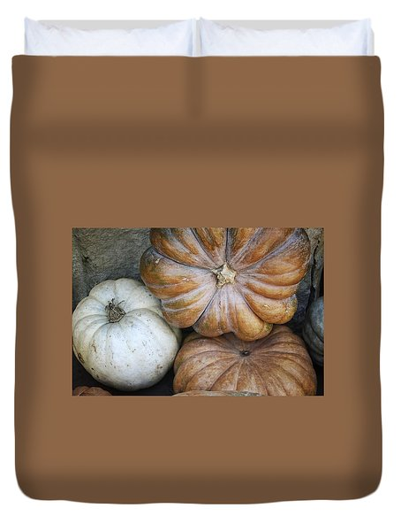 Rustic Pumpkins Duvet Cover by Joan Carroll