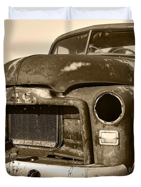 Rusty But Trusty Old GMC Pickup Duvet Cover by Gordon Dean II