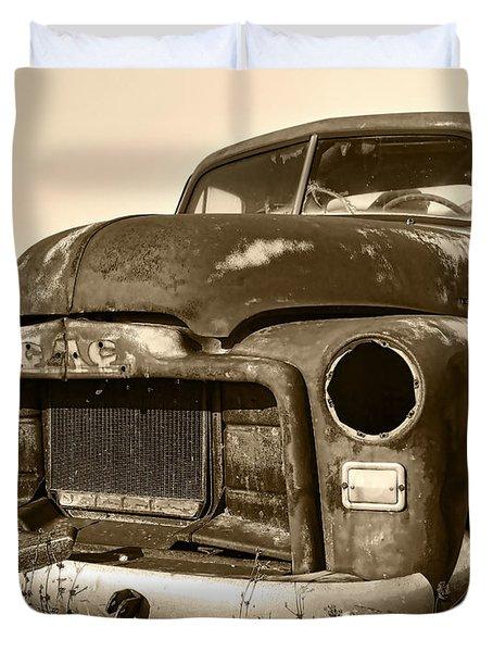 Rusty But Trusty Old Gmc Pickup Truck - Sepia Duvet Cover by Gordon Dean II