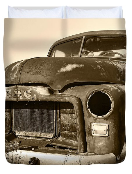 Rusty But Trusty Old GMC Pickup Truck - Sepia Duvet Cover by Gordon Dean II