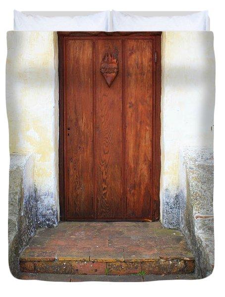Sacred Heart Door Duvet Cover by Carol Groenen