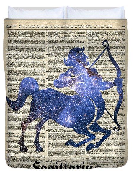 Sagittarius The Centaur Archer  Duvet Cover by Jacob Kuch