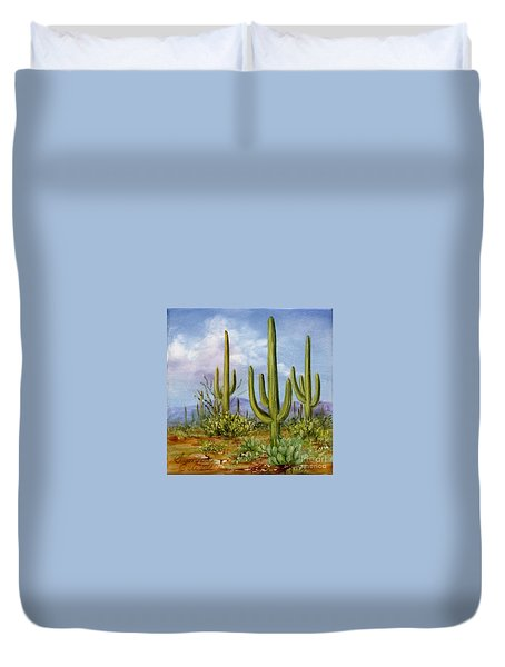 Saguaro Scene 1 Duvet Cover by Summer Celeste