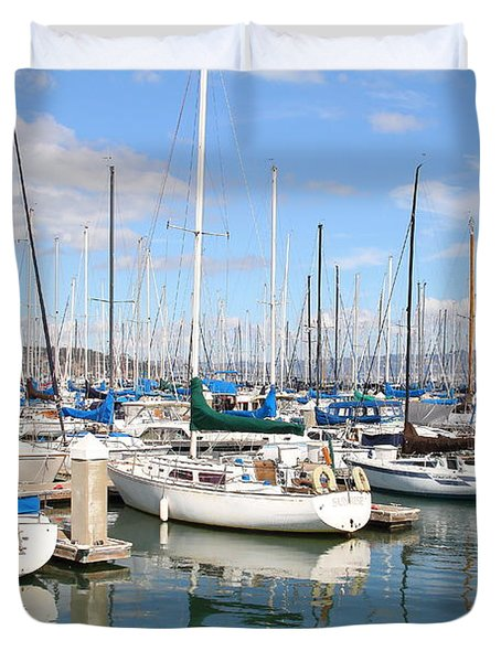 Sail Boats at San Francisco China Basin Pier 42 With The Bay Bridge in The Background . 7D7664 Duvet Cover by Wingsdomain Art and Photography
