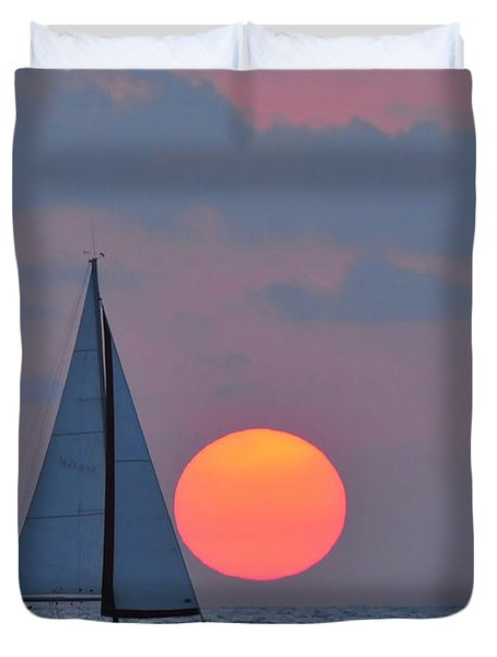 Sailboat At Sunset  Duvet Cover by Shay Levy