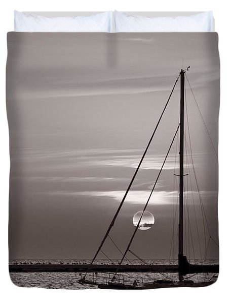 Sailboat Sunrise In B And W Duvet Cover by Steve Gadomski