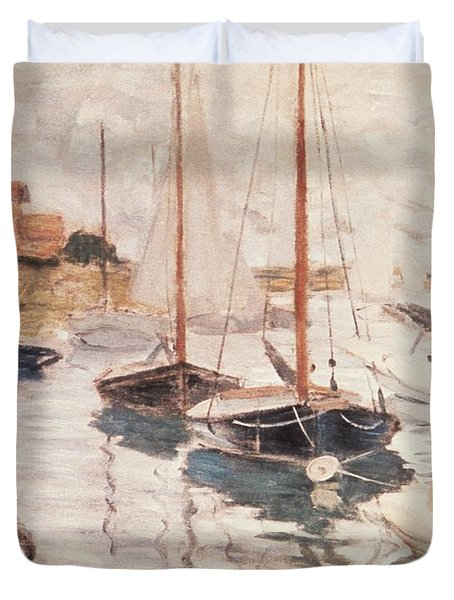 Sailboats On The Seine Duvet Cover by Claude Monet