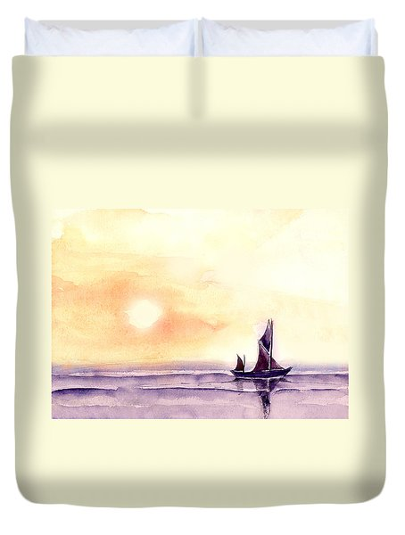 Sailing Duvet Cover by Anil Nene