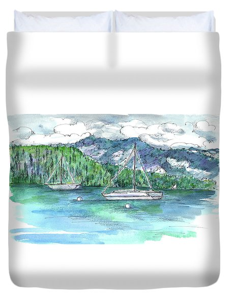 Sailing Lake Tahoe Duvet Cover by Cathie Richardson