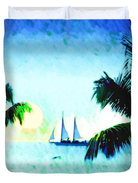 Sailing The Keys Duvet Cover by Bill Cannon