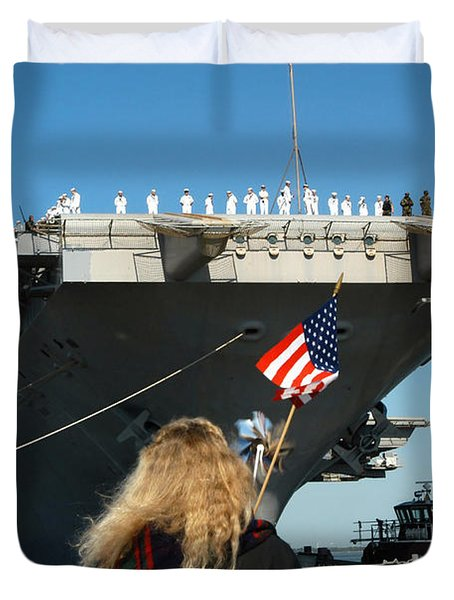 Sailors Aboard Aircraft Carrier Uss Duvet Cover by Stocktrek Images