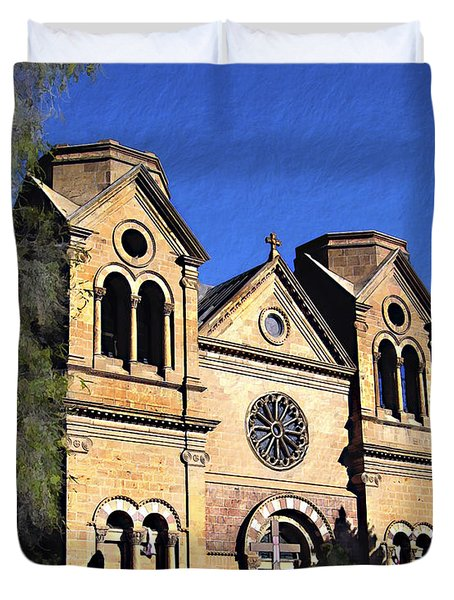 Saint Francis Cathedral Santa Fe Duvet Cover by Kurt Van Wagner
