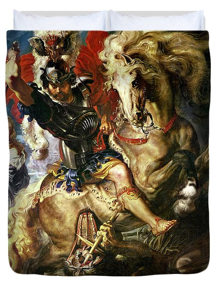 Saint George And The Dragon Duvet Cover by Peter Paul Rubens