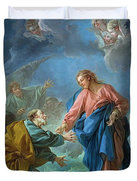 Saint Peter Invited To Walk On The Water Duvet Cover by Francois Boucher