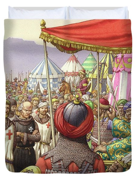 Saladin Orders The Execution Of Knights Templars And Hospitallers  Duvet Cover by Pat Nicolle