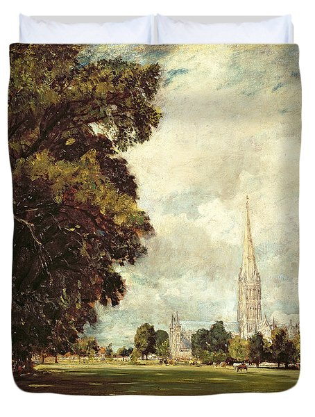 Salisbury Cathedral From Lower Marsh Close Duvet Cover by John Constable