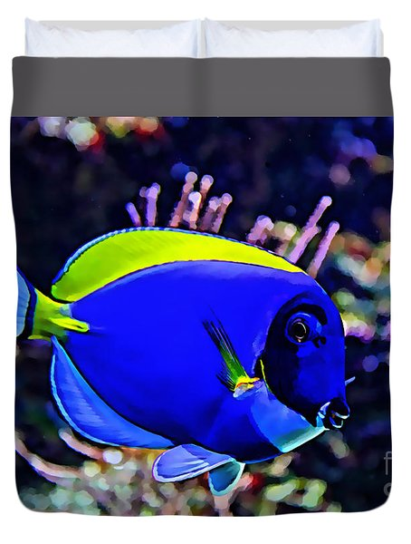 Saltwater Fish Blue Tang Duvet Cover by Marvin Blaine