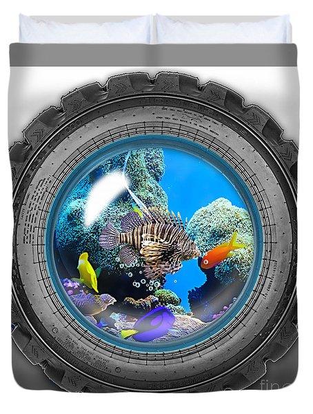 Saltwater Tire Aquarium Duvet Cover by Marvin Blaine