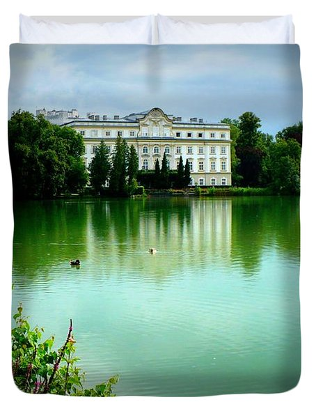 Salzburg Home with Lake Duvet Cover by Carol Groenen