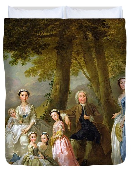 Samuel Richardson Seated With His Family Duvet Cover by Francis Hayman