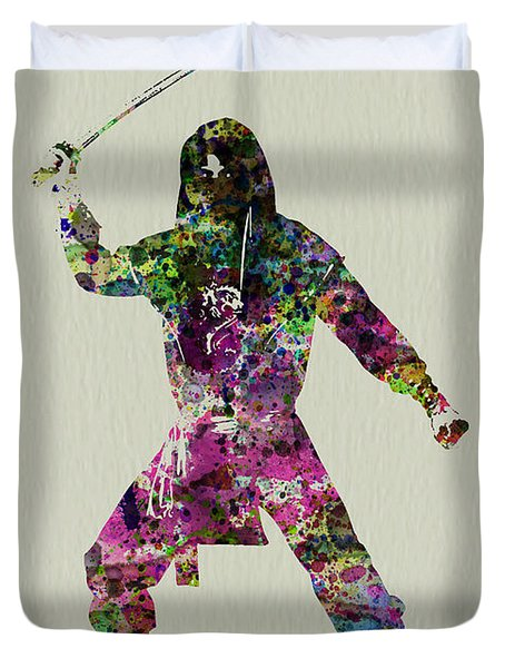 Samurai With A Sword Duvet Cover by Naxart Studio