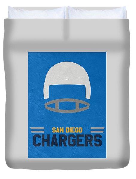 San Diego Chargers Vintage Art Duvet Cover by Joe Hamilton