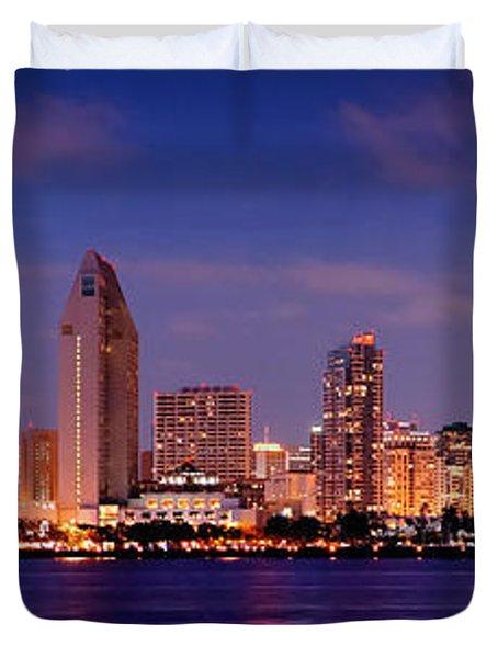 San Diego Skyline At Dusk Duvet Cover by Jon Holiday
