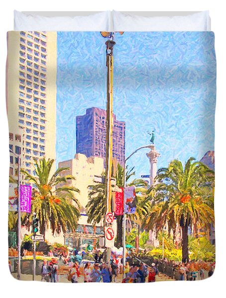 San Francisco Union Square Duvet Cover by Wingsdomain Art and Photography