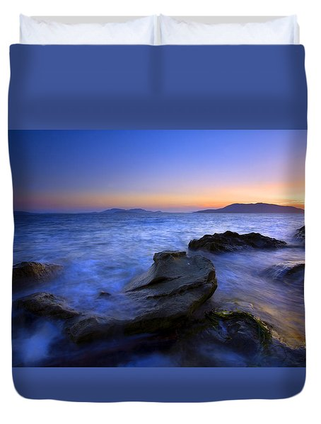 San Juan sunset Duvet Cover by Mike  Dawson