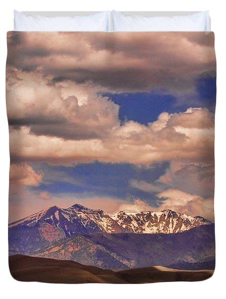 Sand Dunes - Mountains - Snow- Clouds And Shadows Duvet Cover by James BO  Insogna