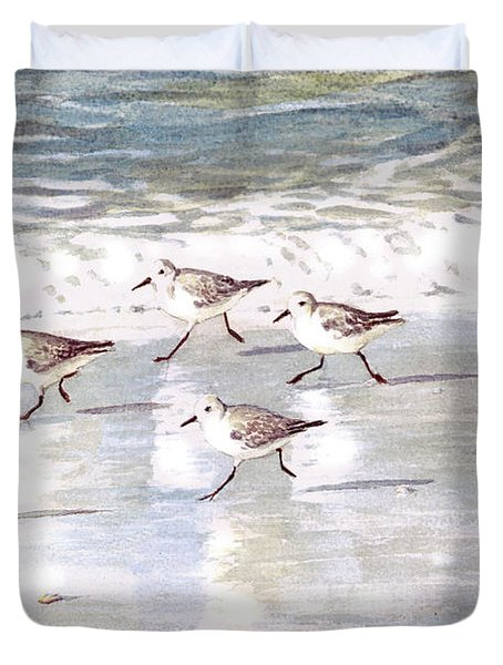 Sandpipers On Siesta Key Duvet Cover by Shawn McLoughlin