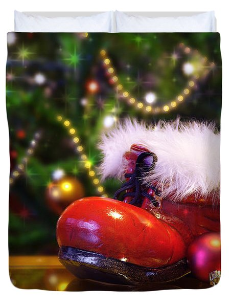 Santa-claus boot Duvet Cover by Carlos Caetano