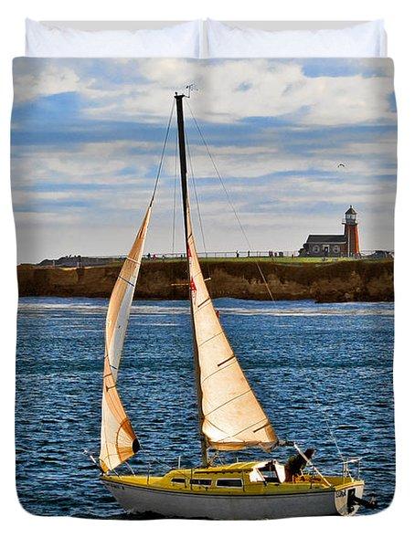 Santa Cruz Mark Abbott Memorial Lighthouse CA  Duvet Cover by Christine Till