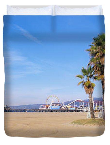Santa Monica Beach Ca Duvet Cover by Panoramic Images