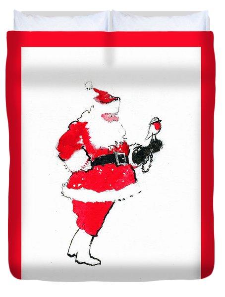 Santa Robin Falconry Duvet Cover by George Adamson