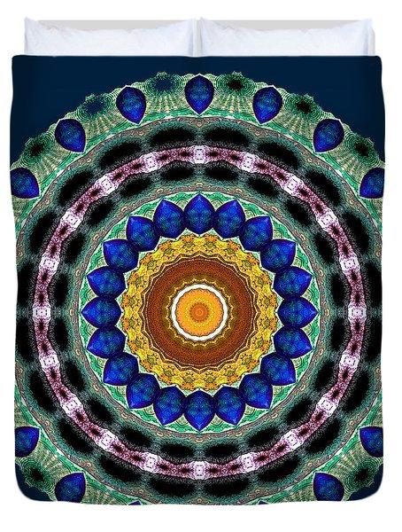 Sapphire Necklace Mandala Duvet Cover by Joy McKenzie