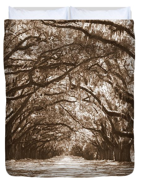 Savannah Sepia - Glorious Oaks Duvet Cover by Carol Groenen
