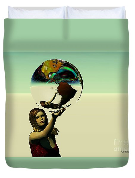 Save The Earth Duvet Cover by Corey Ford