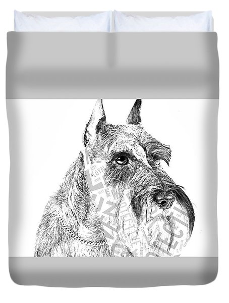 Schnauzer Portrait Duvet Cover by Marvin Blaine