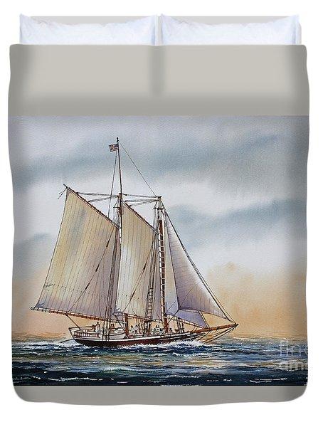 Schooner STEPHEN TABER Duvet Cover by James Williamson