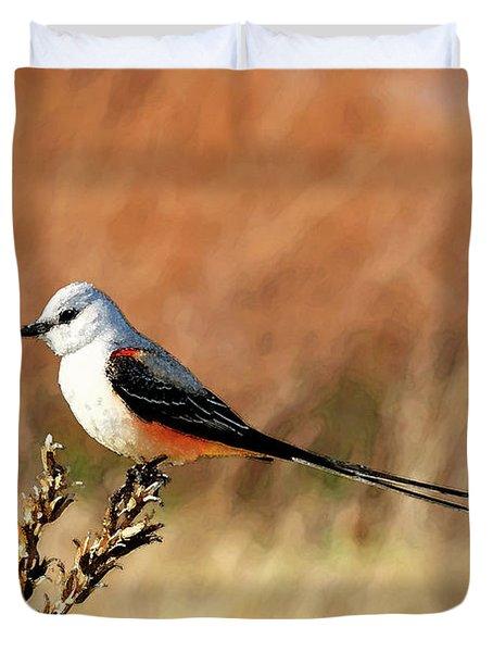 Scissor-tailed Flycatcher Duvet Cover by Betty LaRue