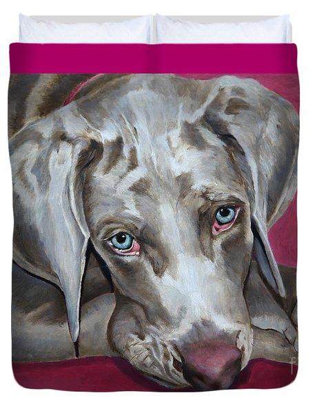 Scooby Weimaraner Pet Portrait Duvet Cover by Enzie Shahmiri